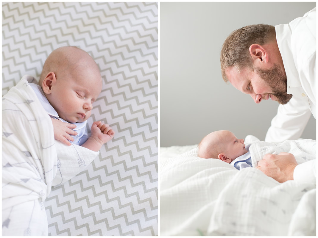 navy and grey newborn lifestyle session at home | Nicole Watford Photography