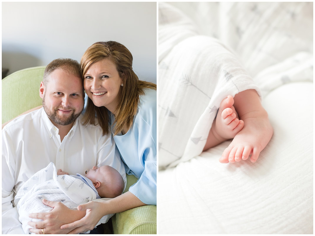 navy and grey newborn lifestyle session at home | Florence, SC Newborn Photographer | Nicole Watford Photography