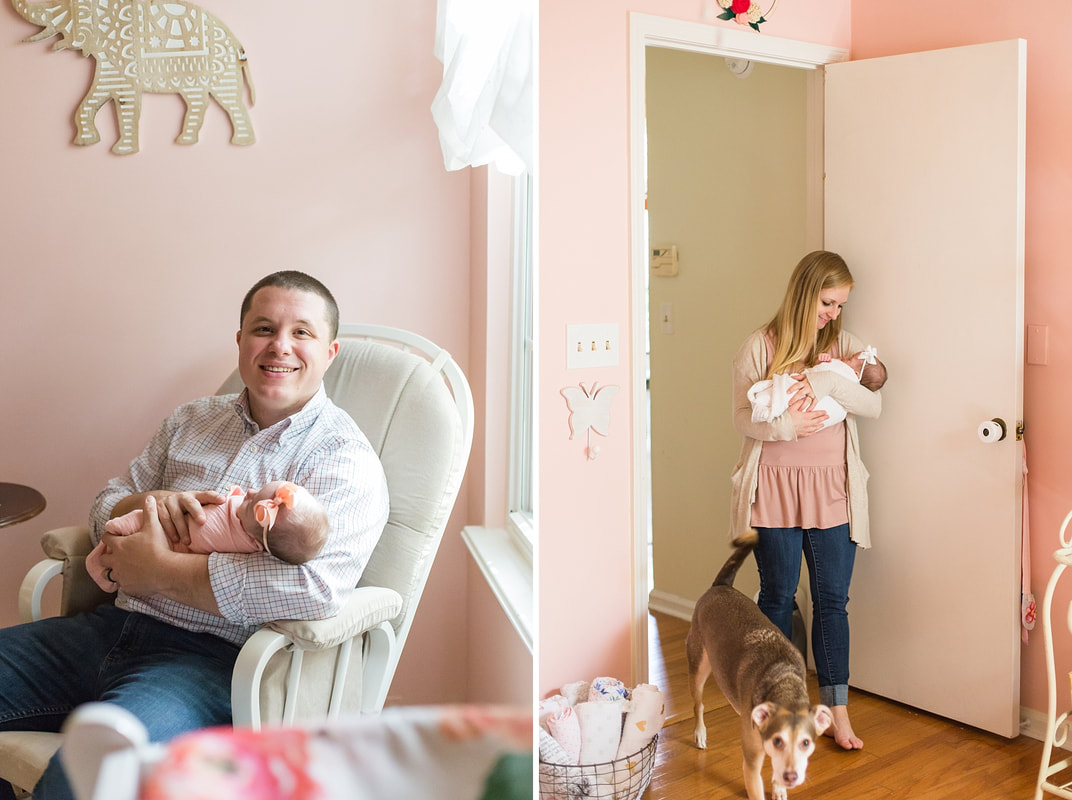 Classic Pink & Cream Newborn Lifestyle Session at Home | Summerville, SC Newborn Photographer | Nicole Watford Photography